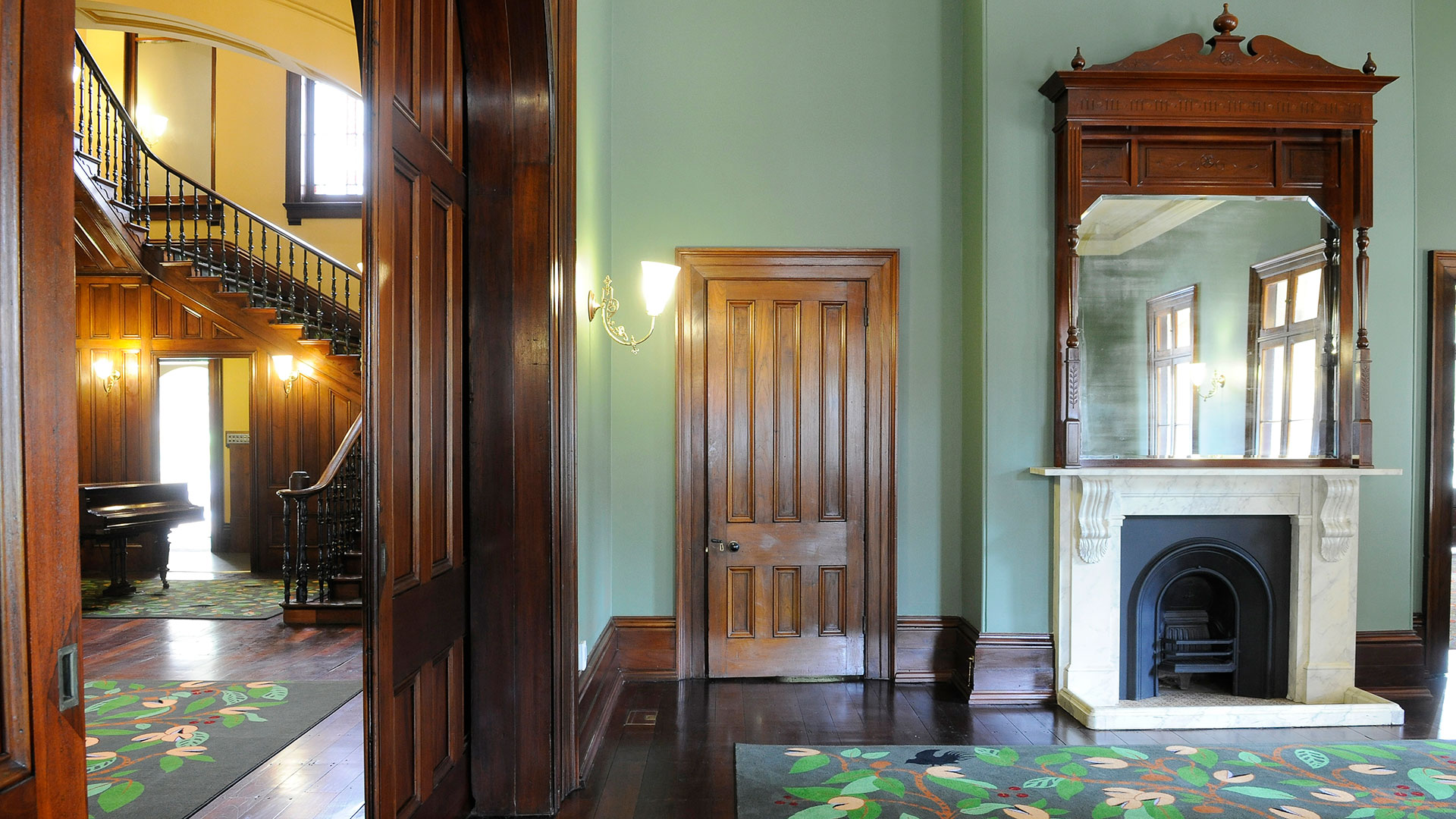 <h2>Old Government House</h2>The Dining Room is an intimate space overlooking the lawns and City Botanic Gardens. Originally the official dining area of the Governor and his guests, The Dining Room is located on the lower floor and interconnects with The Hall. The Dining Room features direct access to the wrap-around verandahs and the original fireplace.